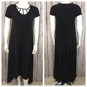 Lane Bryant Black Caged Neckline Dress 14/16